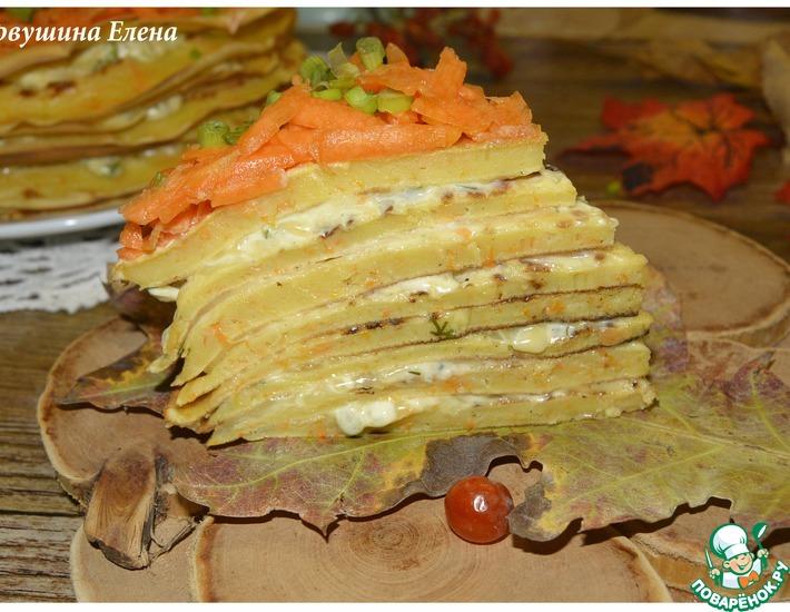 Рецепт: Блинный тыквенный торт с прослойкой из сыра