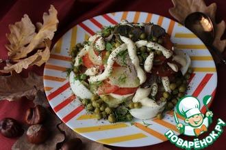 Рецепт: Овощной салат с куриной печенью