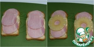 """На промазанный хлеб кладем ветчину. Затем """"кольцо"""" ананаса."""