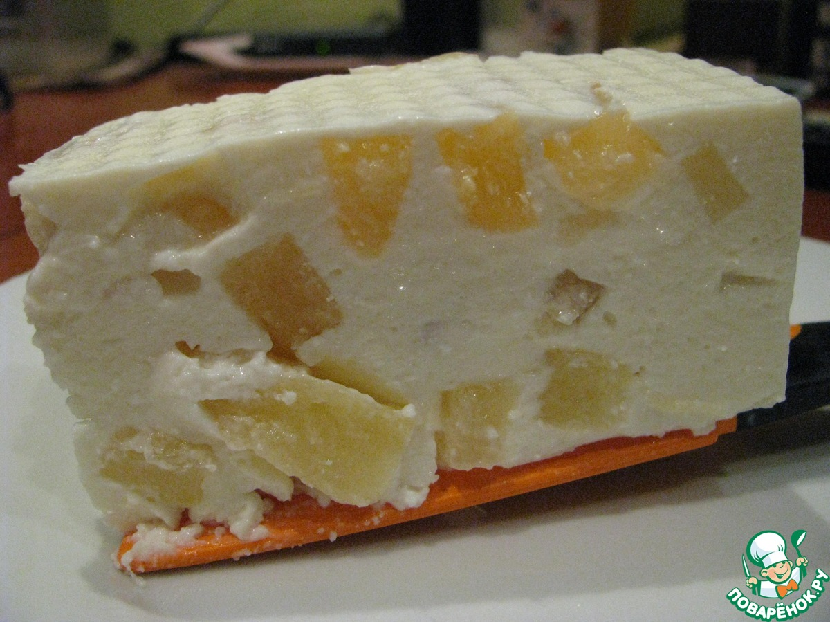 Творожный десерт с ананасом