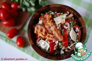 Рецепт Салат из гречневой крупы с помидорами и беконом