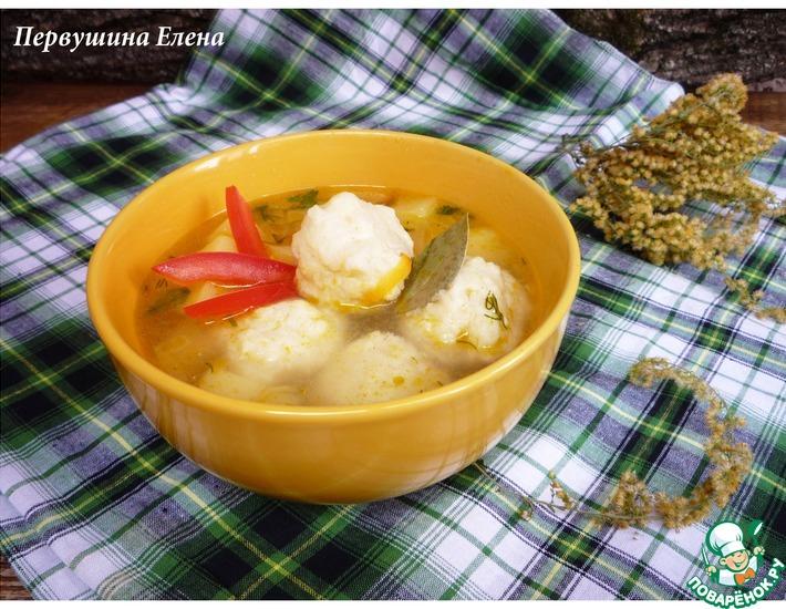 Рецепт: Куриный суп с сырно-рисовыми клецками
