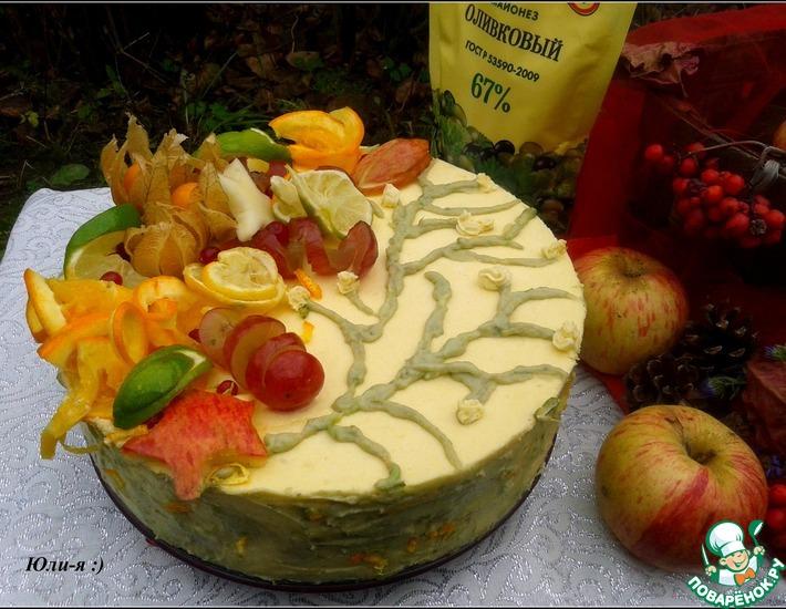 Рецепт: Воздушный торт с тыквенно-сливочным кремом