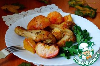 Рецепт: Курица по-особому с овощами и фруктами