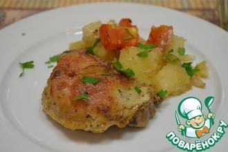 Рецепт: Запеченная курица с картошкой