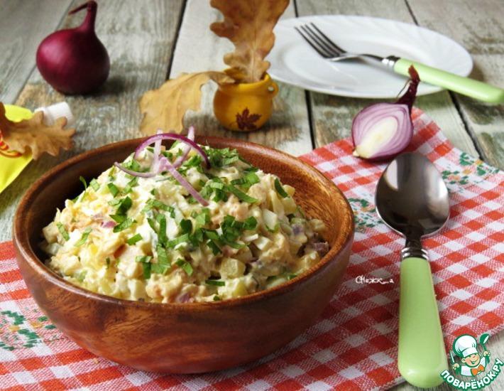 Рецепт: Салат с копчёным кальмаром