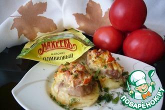 Рецепт: Картофельно-мясные башенки, запечённые под соусом