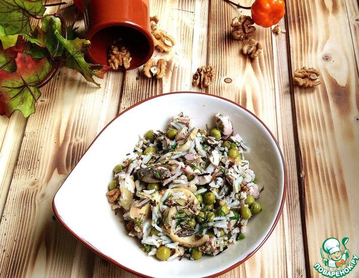 Рецепт: Салат из курицы и риса по-деревенски