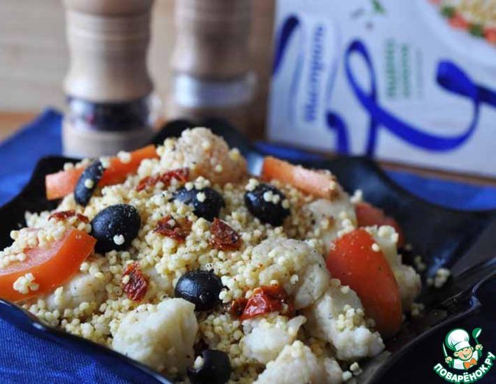 Рецепт: Острый салат с пшеном и цветной капустой