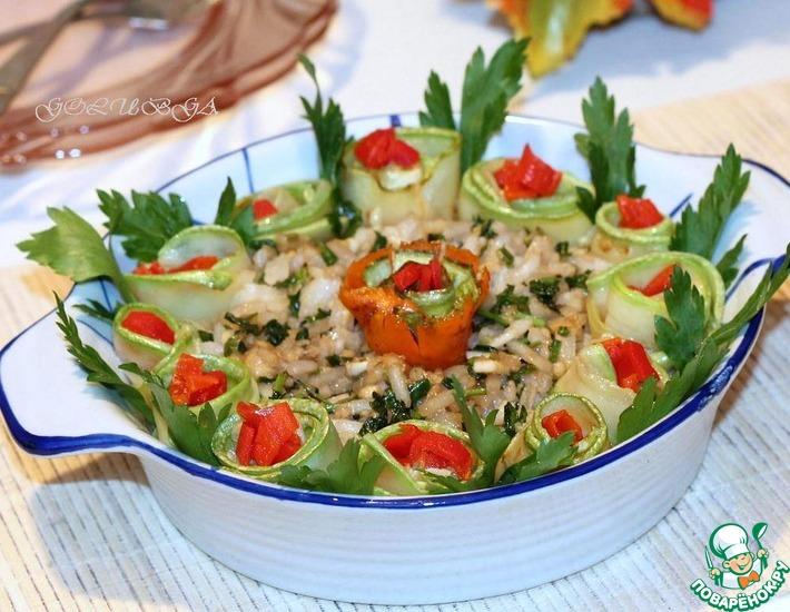 Рецепт: Кабачки с орехово-чесночной заправкой