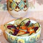 Теплый салат из цуккини, морковки и гречи