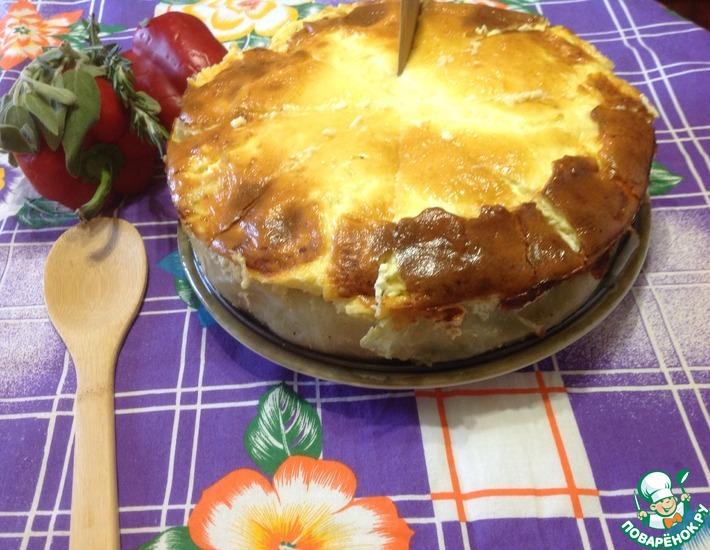 Рецепт: Торт из капусты с мясным фаршем и сыром