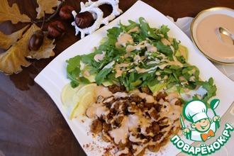 Рецепт: Салат с жареными креветками под соусом Мари-Роз
