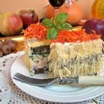 Бутербродные пирожные с ветчиной и зеленью