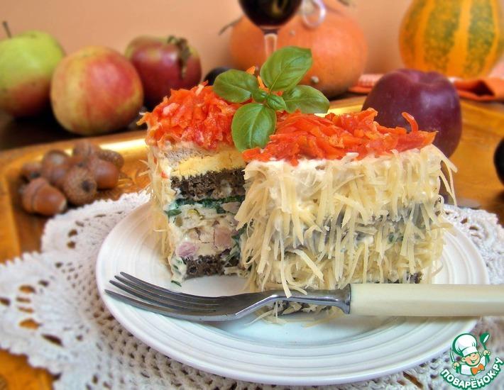 Рецепт: Бутербродные тортики с ветчиной и зеленью
