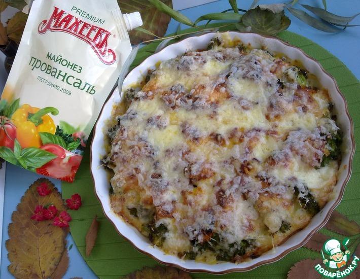 Рецепт: Запеканка из брокколи с фаршем и сыром