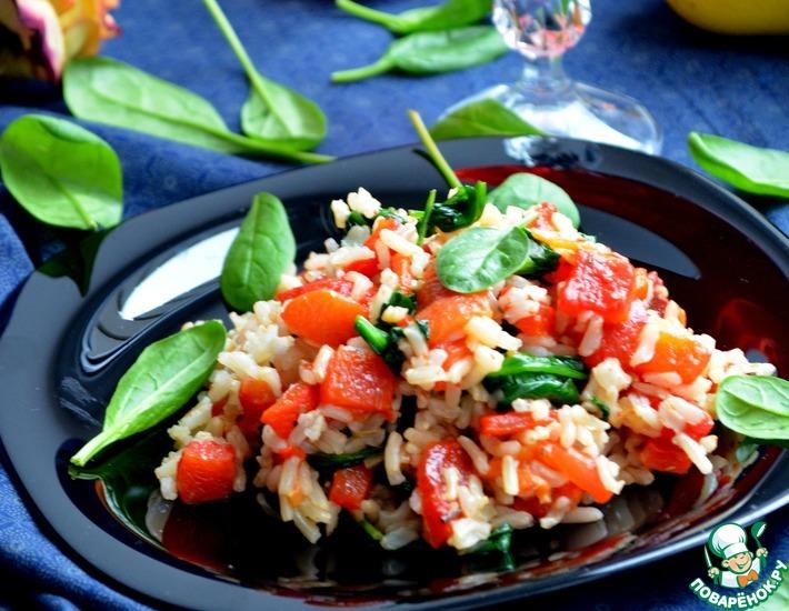 Рецепт: Рис с печеным перцем и шпинатом