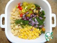 Сытный овощной салат с мидиями ингредиенты