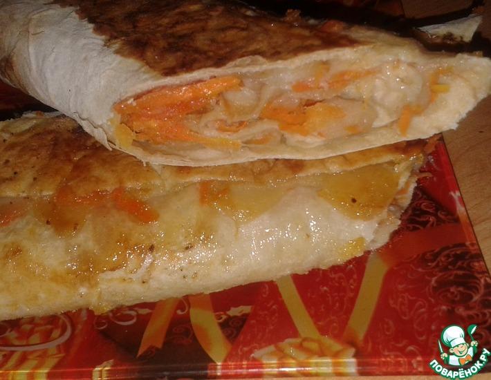 Рецепт: Яблочно-морковный лже-штрудель в лаваше