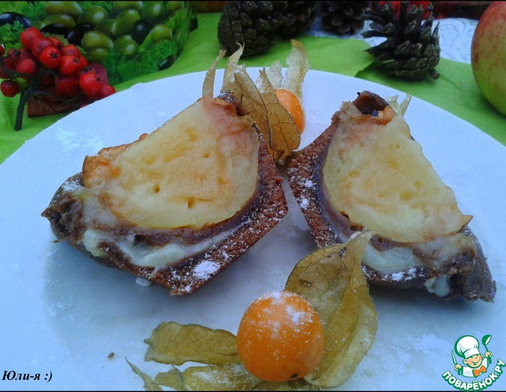 Рецепт: Пирожные с заварным кремом и яблоком