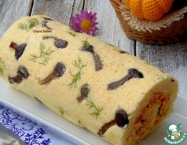 Рецепт: Закусочный бисквитный рулет Осенние узоры