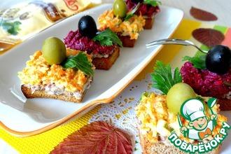 Рецепт: Закусочные тосты с овощами и сардиной