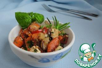 Рецепт: Теплый тыквенный салат с брынзой и тимьяном