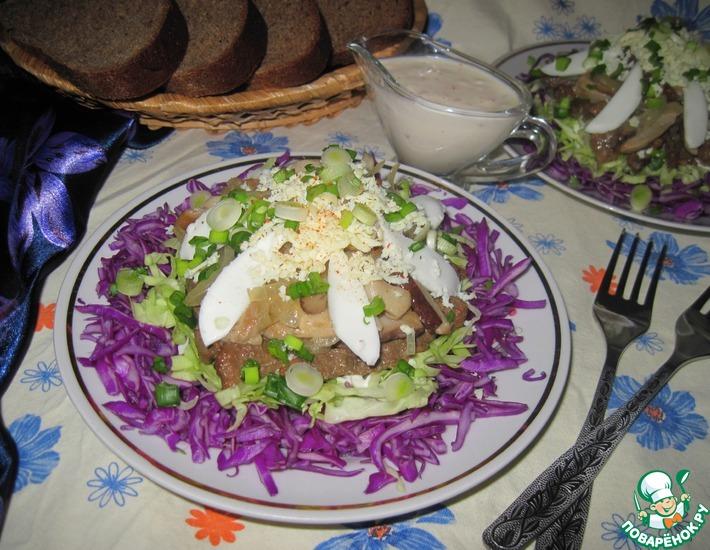 Рецепт: Салат с печенью и лесными грибами