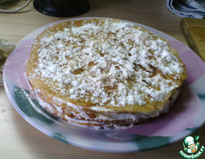 Рецепт: Сладкий блинный торт