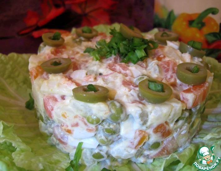 Рецепт: Салат с семгой Осенний Оливье