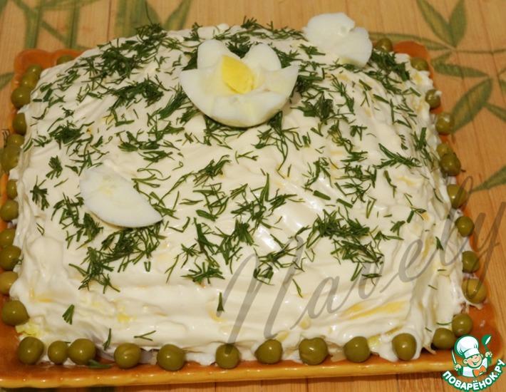 Рецепт: Салат слоеный с кальмаром