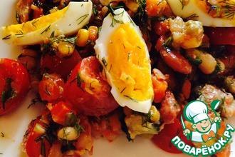 Рецепт: Салат из тунца с рукколой и помидорами черри