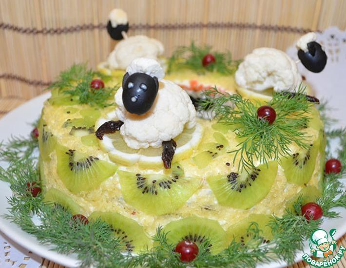 новогодний салат в виде овцы рецепт с фото