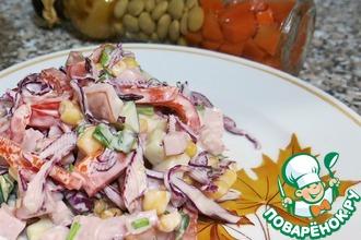 Рецепт: Салат из краснокочанной капусты и карбонада