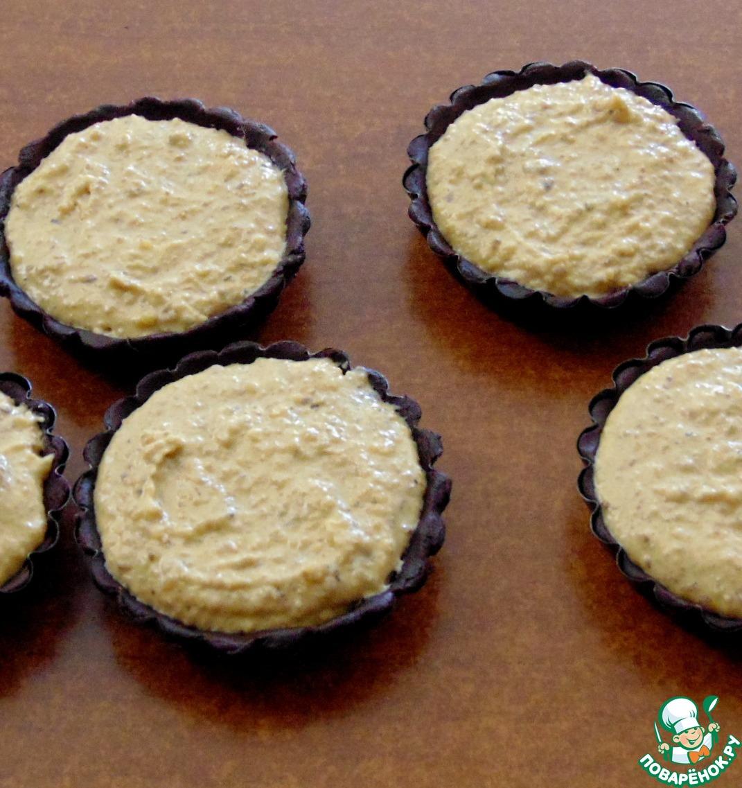Шоколадные тарталетки с ореховой начинкой и карамелью