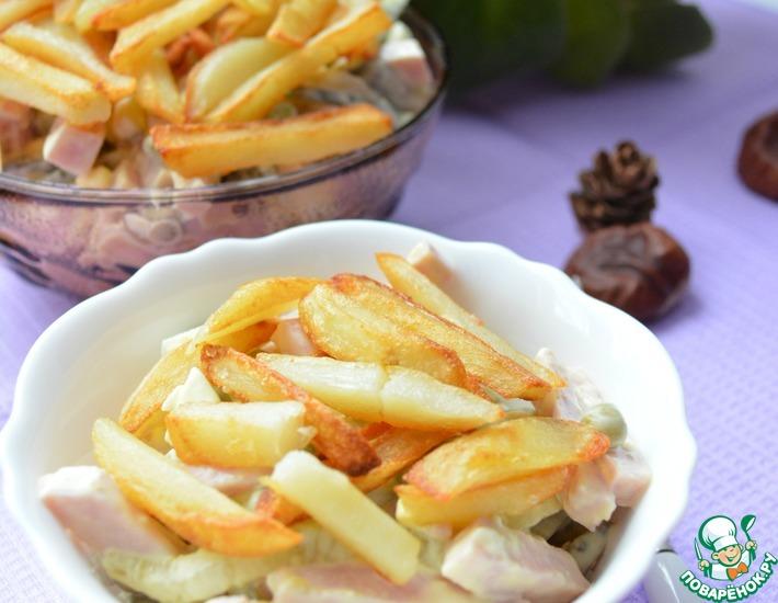 Рецепт: Салат с ветчиной и маринованными огурцами