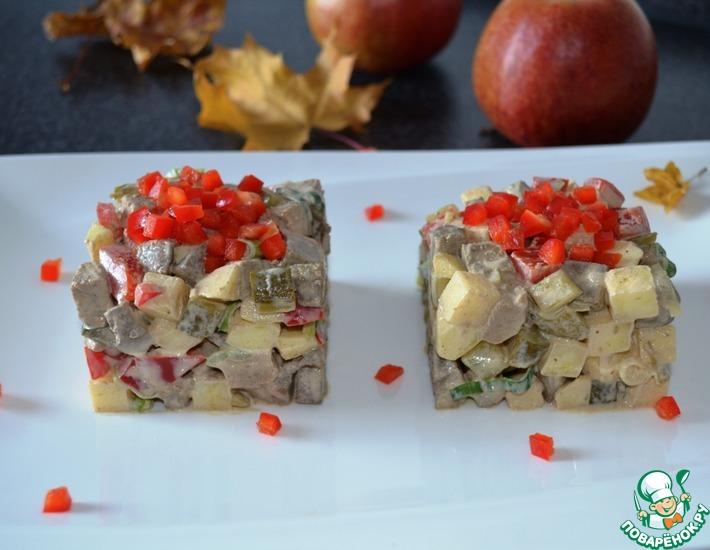 Рецепт: Салат Печень с яблоком