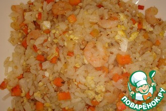 Рецепт: Рис по-китайски с креветками
