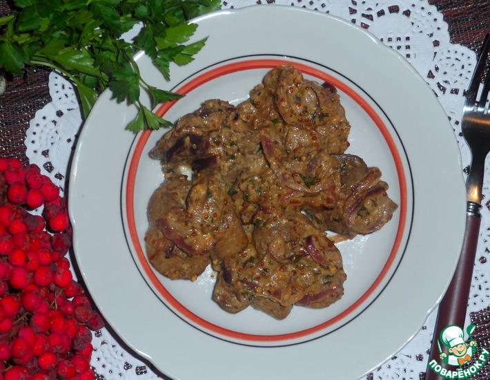 Рецепт: Куриная печень по-строгановски
