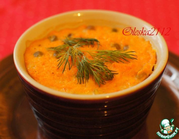 Рецепт: Морковное суфле с зелёным горошком