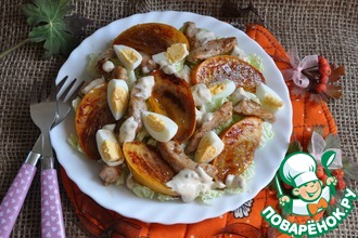 Рецепт: Салат с хурмой и курицей