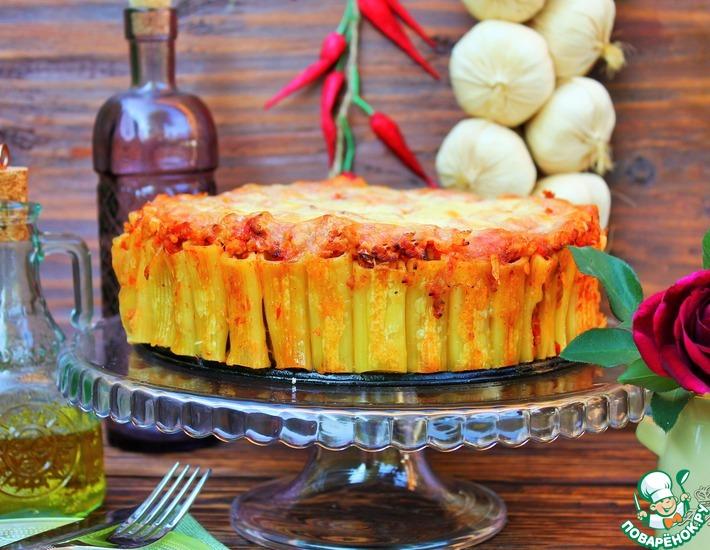 Рецепт: Запеченный торт из макарон Ригатони
