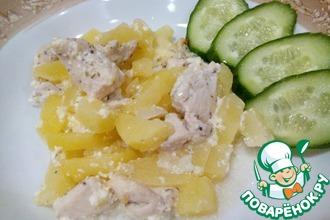 Рецепт: Картошка с нежным куриным филе