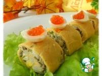 Сырный рулет с грибами и кальмарами ингредиенты