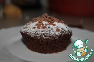 Рецепт: Шоколадные маффины с шоколадной начинкой