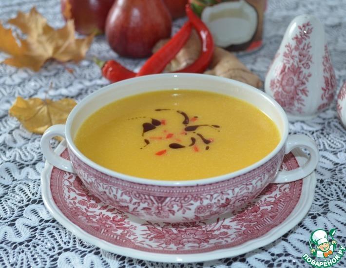 Рецепт: Тыквенный суп с имбирем и кокосовым молоком