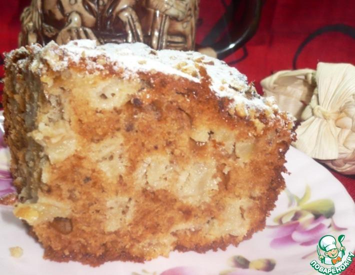 Рецепт: Пирог медово-яблочный с орехами