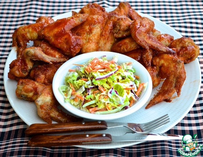 Рецепт: Хрустящие крылышки в медовой глазури