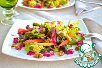 Рецепт: Салат с запеченной морковью и пастернаком под сметанно-свекольным соусом