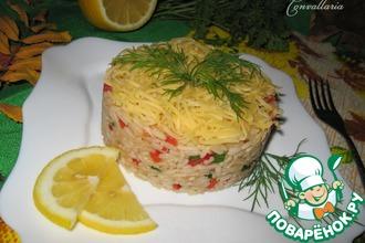 Рецепт: Салат с рисом, кольраби и болгарским перцем